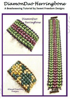Learn to create a beautifully textured herringbone bracelet using 2-hole DiamonDuos! A tutorial by Sweet Freedom Designs ~ Seed Bead Tutorials