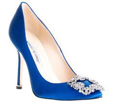 "Zapatos de novias Manolo Blahnik ""hangisi"" azul klein"