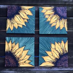 Sunflower Painting on 4 Canvas Squares by EtsyByVeasey 4 Canvas Paintings, Sunflower Canvas Paintings, Multi Canvas Painting, Multi Canvas Art, Diy Canvas Art, Diy Painting, Mini Canvas, Canvas Ideas, Wine And Paint Night