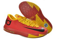 online store c5881 cc9c6 Sport Red Yellow Nike KD VI Black 599424 112 Nike Basketball Shoes, Kevin  Durant Basketball
