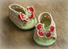 Butterfly Baby Sandals 100 Cotton Crochet Baby by LineaTricot, $25.00