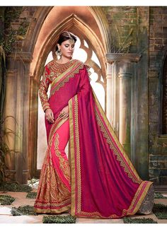 Look Elegant And Feminine Draped In This Peach Colored Saree That Comes From Viva N Diva. Featuring Floral Embroidery Work All Over, This Saree Is Decorated With Trendy Patch Borders