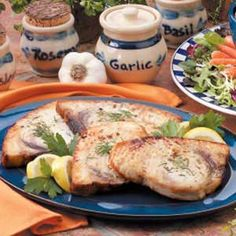 Grilled Halibut Steaks.  The herb butter is awesome, and probably good for any kind of meat.