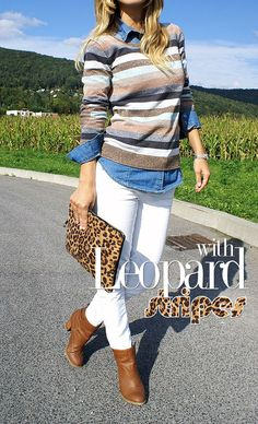 Leopard with stripes! White Jeans, Casual Outfits, Stripes, My Style, Pants, Fashion, Casual Clothes, Moda, Trousers