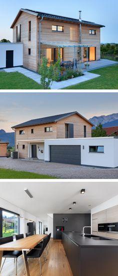 Modernes Einfamilienhaus mit Garage, Satteldach Architektur & Holz Fassade - Fertighaus aus Holz bauen Ökohaus Schneider von Baufritz Haus - HausbauDirekt.de