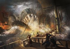 Artwork sailing ships sea creatures storm widescreen desktop mobile iphone android hd wallpaper and desktop. Sea Monsters, Sea Creatures, Warfare, Sailing Ships, Hd Wallpaper, Art Drawings, Artist, Artwork, Painting