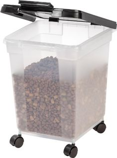IRIS Airtight Pet Food Container, 25-Pound, Clear/Black - http://www.thepuppy.org/iris-airtight-pet-food-container-25-pound-clearblack/