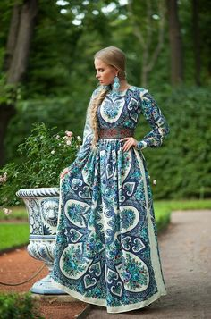 """Designer womens dresses Full lenght blue summer with exclusive print. Floral Maxi dress with long sleeve from my collection """"Empress"""" Exclu. Modest Fashion, Hijab Fashion, Fashion Dresses, Gypsy Dresses, Modest Dresses, Floral Maxi Dress, Boho Dress, Classy Outfits, Pretty Outfits"""