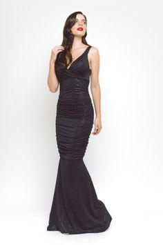 The Gabriella Black Gold Maxi Dress clings to the body but the ruche gathering softens & flatters the body. Features a low cut neckline & fishtail. Sexy Dresses, Fashion Dresses, Formal Dresses, Fishtail Maxi Dress, Black Tie, Black Gold, Red Maxi, Contemporary Fashion, Celebs
