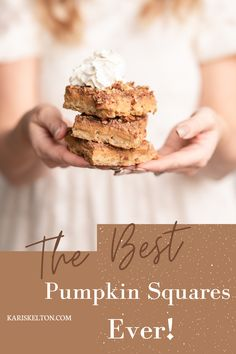 With an oat crust and the perfect hint of pumpkin pie. These are hands-down the best pumpkin squares ever!