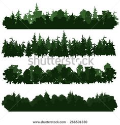Set of four forest silhouettes. Hand drawn. Different hues. Vector illustration.  - stock vector