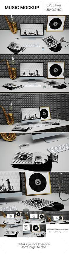 Music Mockup  #tape #vinyl #web mockup • Available here → http://graphicriver.net/item/music-mockup/15437769?ref=pxcr