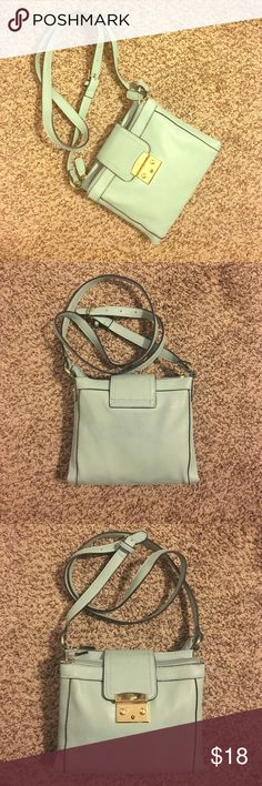 Mint and gold cross body purse Cute, fashionable, mint and gold, cross body purse! Two larger zipper pockets to store all your daily stuff, middle opens up with 2 pockets and ID holder! Bags Crossbody Bags