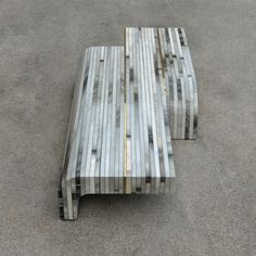Bench / labs of recycled object of Cipollino marble - SCRAP by franchiumbertomarmi  Designer: Michele Cazzani