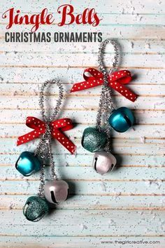 easy christmas crafts Deck the halls with these festive Jingle Bells Christmas Ornaments. So easy even the kids can do it. Great teacher or neighbor gift idea. Christmas Ornaments To Make, Christmas Bells, Christmas Crafts For Kids, Homemade Christmas, Holiday Crafts, Christmas Ideas, Christmas Music, Felt Christmas, Christmas Activities For Children