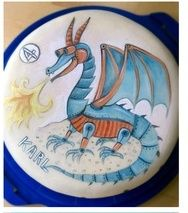 hand painted dragon cake, source unknown