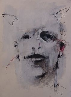 """Harry Ally - Self Portrait with Horns . 30 x 22"""" . charcoal, pastel, acrylic on paper . 2008"""