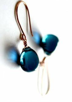 Dark Blue Glass Drop Earrings