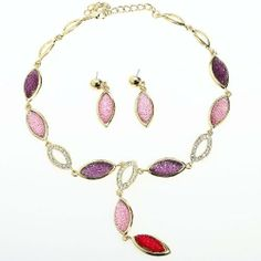 Arinna Dazzling Colorful Fashion Earrings Necklace Set 18K Gold Gp Swarovski Elements Crystal Arinna. $29.98