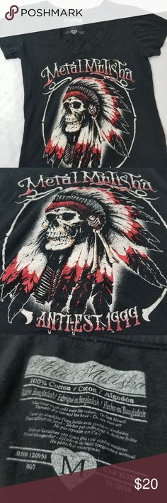 Womens' Metal Mulisha Indian Skull SS Top Medium Womens' Metal Mulisha Indian Skull SS Top Medium. EUC Metal Mulisha Tops Tees - Short Sleeve