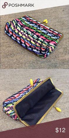 Multicolor snap clutch EUC Bags Clutches & Wristlets