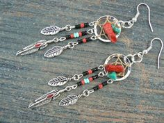 red coral and turquoise dreamcatcher earrings turquoise BLACK in native american inspired tribal boho hippie belly dancer and hipster style