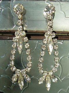Vintage 1960s Rhinestone Earrings / 60s MidCentury #Madmen