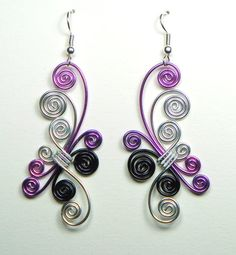 Spiral Wing Earrings in Purple Hues by melissawoods on Etsy, $20.00