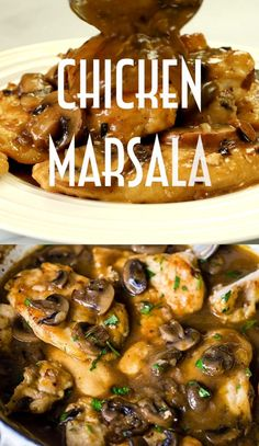 Enjoying this delicious Chicken Marsala doesn't require a restaurant trip, only 25 minutes of your time! Tender and juicy chicken breasts smothered in Marsala wine sauce, made even richer and more complex by chestnut mushrooms. Easy Chicken Dinner Recipes, Healthy Chicken Dinner, Baked Chicken Recipes, Easy Healthy Dinners, Healthy Dinner Recipes, Cooking Recipes, Chicken Coq Au Vin Recipe, Chicken Mushroom Recipes, Chicken Recipes Video