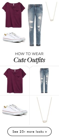 """Cute school outfits"" by lilythepinkprincess on Polyvore featuring H&M, Joe's Jeans, Converse and Kendra Scott"