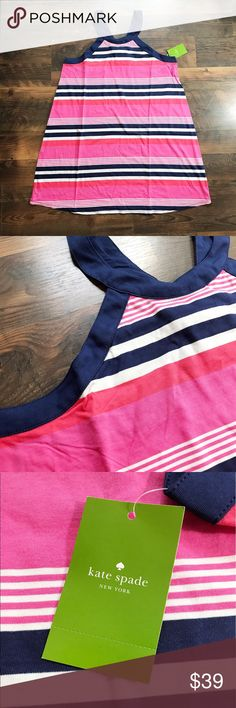 """Kate Spade Striped Navy & Pink Chemise NWT Super cute brand new with tags Kate Spade pink and navy striped chemise. It has racer-back straps and a high crew neckline. This has never been worn.   Size L Length 34"""" Bust Flat 18"""" MSRP $58  Item Number: R24N5BA kate spade Intimates & Sleepwear Chemises & Slips"""