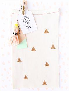 New B&W hang tag & gold glitter cloth bag designs via Inspire Lovely ETSY