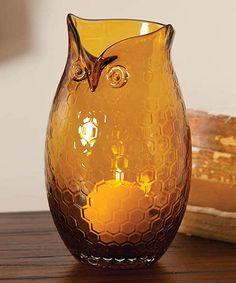 Amber Owl Vase