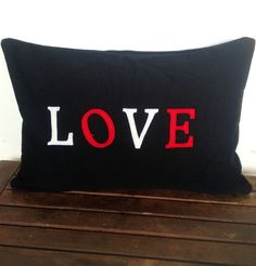Appliqued handmade LOVE pillow cover is handmade with 100% cotton is so chic and ideal to decorate your bedroom or simply as an anniversary gift or