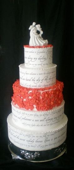 """E. E. Cummings """"I carry your heart"""" poem on a wedding cake.  I LOVE this poem!"""