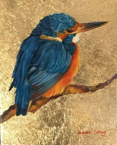 Kingfisher - Evening Light - Oil and goldleaf. Greeting cards available. Bird Artwork, Kingfisher, Gold Leaf, Artworks, Greeting Cards, Oil, Fine Art, Painting, Animals