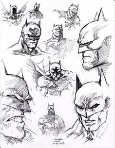 drawing superhero ball point pen flipped through my copy of Batman 'Hush' by Jim Lee and just started filling the page with head shots. i was drawing direct with only ball point pen so i was fortunate the compositio. Batman Drawing, Drawing Superheroes, Comic Drawing, Batman Poster, Batman Artwork, Batman Comic Art, Jim Lee Batman, Batman Kunst, Jim Lee Art