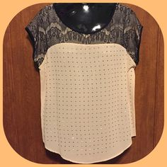 Verbal Top with Lace Design This top is gorgeous! Perfect for a day out or to work! Color is peachy beige with black lace. Verbal Tops Blouses