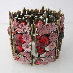 Elegant Red Archaize Crystal Bracelet Bangle Cuff