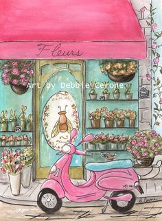 How cute is this?! Whimsical watercolor of famous Paris Flower Shop - Olivier Pitou Fleurs. 8 X 10 copy of original watercolor. Can also be 'personalized'!