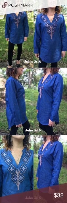 ⚡️flash sale - Blue embroidered tunic tops This chambray embroidered tunic top is so beautiful and fits and looks amazing. 100% cotton - price is firm. Tops