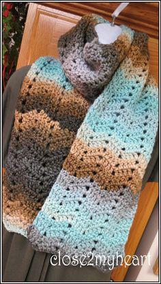Handmade Crochet 60 inch Long Chevron Scarf by close2myheart, $32.00