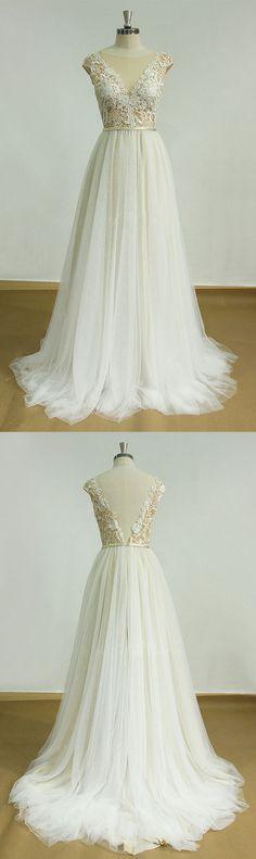 white aline round neck lace long prom dress, lace wedding dress, lace bridal dress