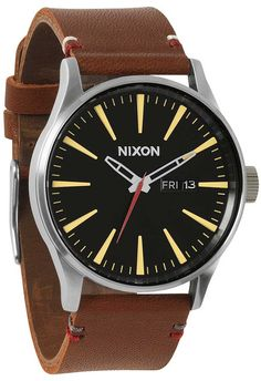 553c17a8d8 Nixon Sentry Leather Brown/Black Affordable Watches, Stainless Steel Watch,  Nixon Watches,