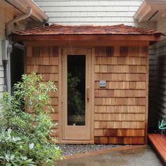 x Outdoor Sauna Kit + Heater Pkg + Custom Roof Outdoor Sauna Kits, Outdoor Baths, Outdoor Spa, Outdoor Ideas, Diy Sauna, Large Backyard Landscaping, Landscaping Retaining Walls, Backyard Ideas, Home Sauna Kit