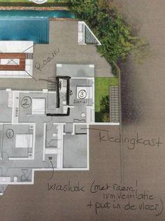 Badkamer van slaapkamer 2 vergroten. Zodat er een raam gemaakt kan worden. Kledingkast van Daniel slaapkamer 3 in gedeelte opbergruimte.