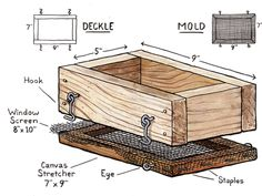 Papermaking deckle box drawing