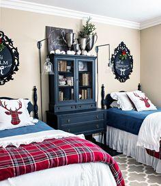 Christmas bedroom decor red plaid