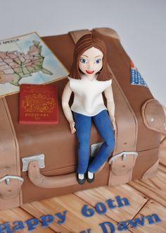 Travel themed cake, sugar model