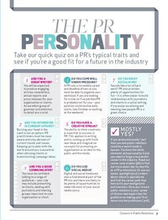 Careers in Public Relations 7 Take our quick quiz on a PR's typical traits and see if you're a good fit for a future in the...